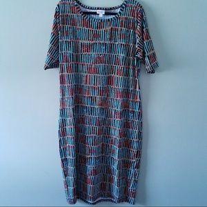 NWOT LuLaRoe Julia Dress, 3XL, Geometric Design